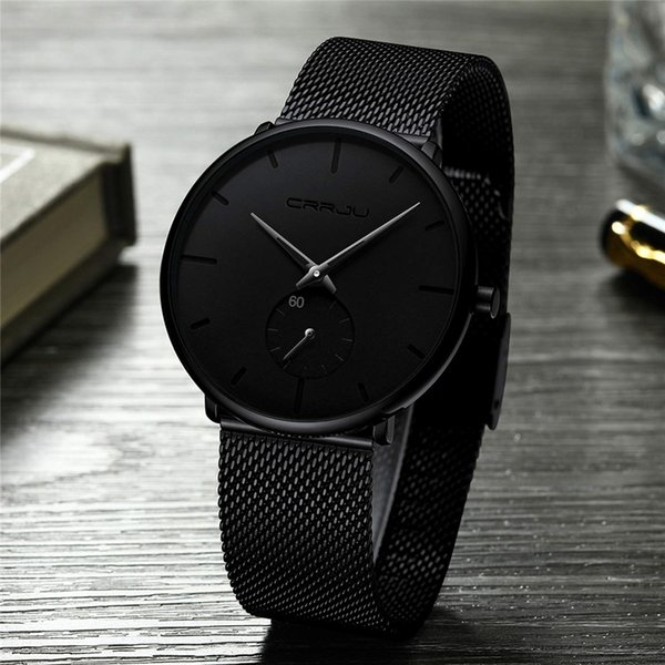 Ultra Thin Creative Black Stainless Steel Quartz Watches Men Simple Fashion Business Japan Wristwatch Clock Male Relogios Y19051302