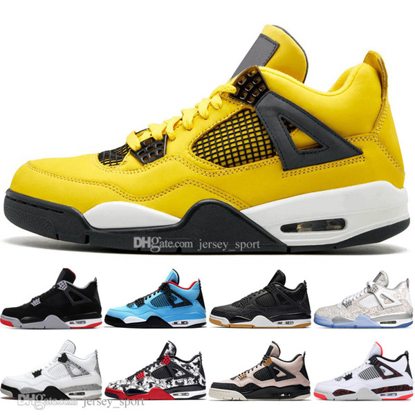 Newest Bred 4 4s What The Cactus Jack Laser Wings Mens Basketball Shoes Denim Blue Eminem Pale Citron Men Sports Designer Sneakers Trainers