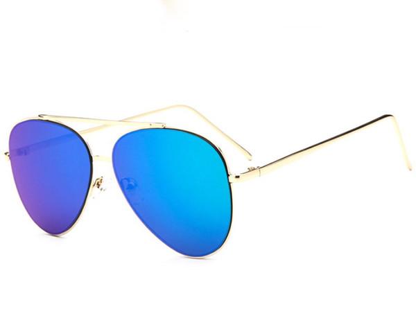 Glasses Shop New Hot Sunglasses For Men Plank Mirror Lenses Pilot Metal Frame Shiled Sun Glasses Colorful Mixed