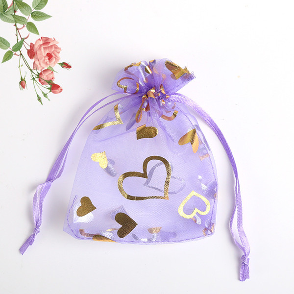 100PCs 16cm x22cm Organza Jewelry Bags & Pouches Wedding Favor White Love Heart Fine Gifts Package Storage Organizer