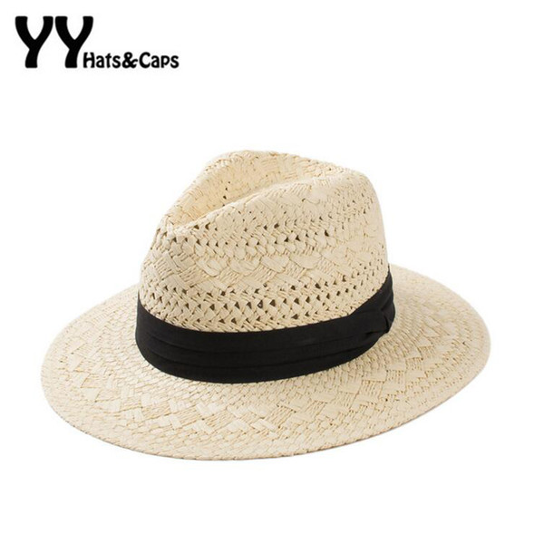 New Hollow Straw Sun Hats for Women Trilby Summer Panama Hats with Wide Brim Beach UV Hat Viseras Mujer Zomer Hoeden 60204