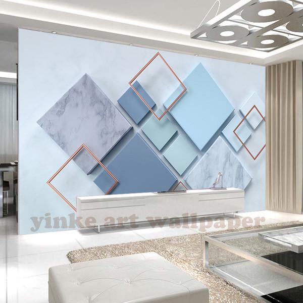Sob encomenda da foto papel de parede 3d estereoscópico simples rhombic mármore papel de parede mural papel de parede sala de estar quarto cabeceira parede pintura