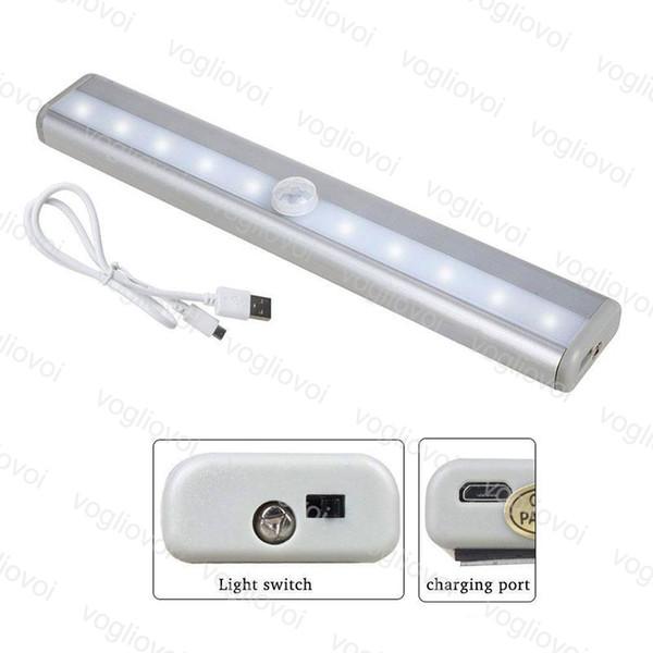 Luces LED del gabinete Sensor de movimiento 0.2M 10Led PIR USB Batería de litio recargable Lámpara inalámbrica Barra de luz Barra de luz magnética Luz de pared DHL