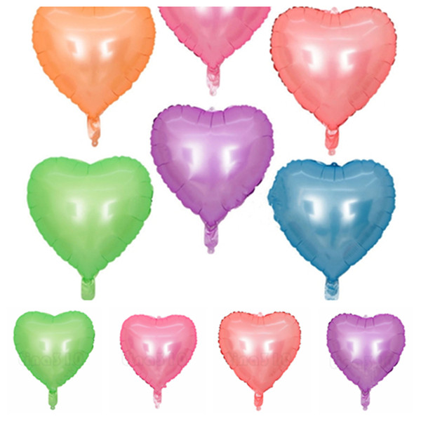 New 6 style 18 - inch heart fluorescent balloon fluorescence aluminum film love balloon decoration wedding balloon T2I5003