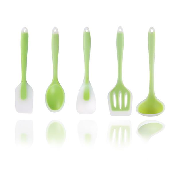 Saydam Silika Jel Mutfak Beş Mutfak seti 5 adet / grup yapışmaz Tava Mutfak Aletleri Pişirme silikon Kepçe Kaşık AAA2044