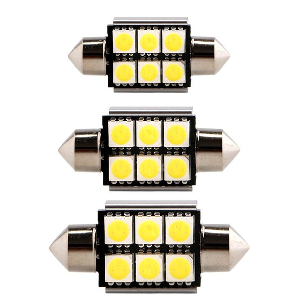 6 Xenon Red 42MM 6SMD 5050 festoon LED Bulbs For Car Interior light