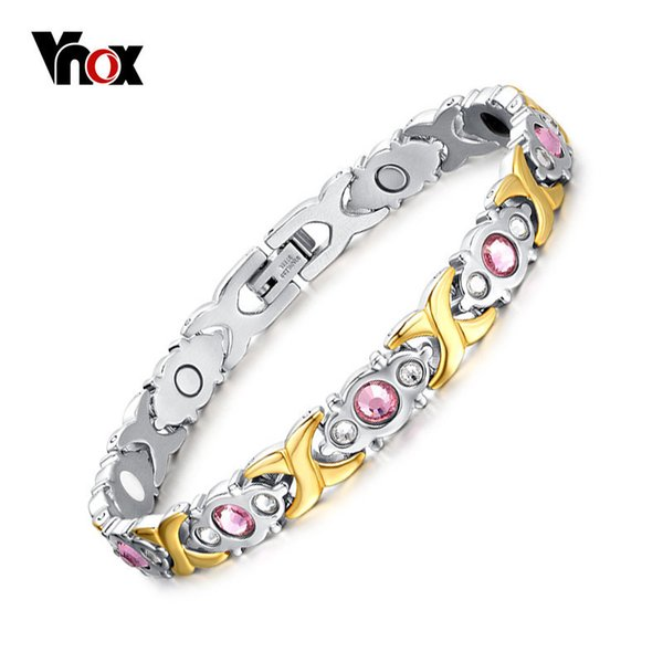 Vnox Pink Crystal Stone Magnet Health Bracelets For Women Bio Energy Femme Gift 2018 Y19051002