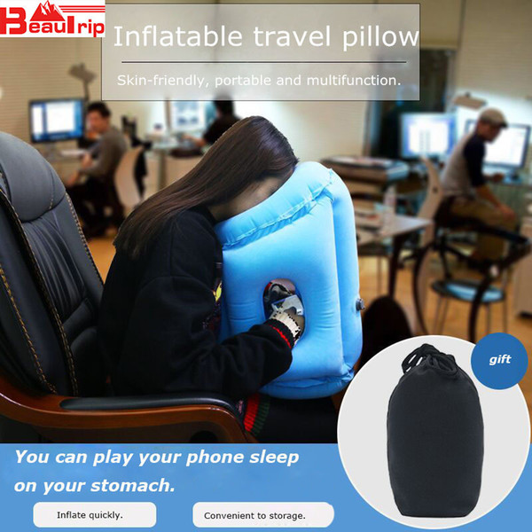 Upgraded Air Pillow Inflatable Neck Cushion Head Support Travel Cushions for Airplane Plane Car Office Nap Pillows Drop Shipping C18112201