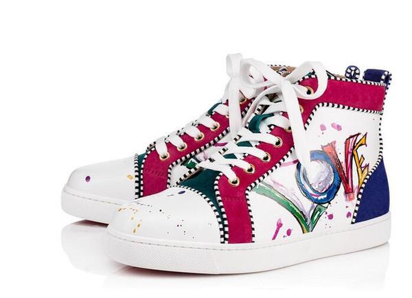 Designer Scarpe Casual Donna Uomo Scarpe da ginnastica Spikes Fondo rosso Oxford Scarpe da ballo Amanti del matrimonio stampato Sneakers in pelle con stampa di tutti i colori