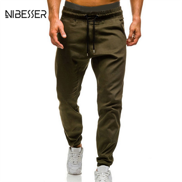 NIBESSER Fashion Drawstring Men Trousers 2019 New Hip Hop Men's Fitness Tight Jogger Male Solid Casual Sweatpants