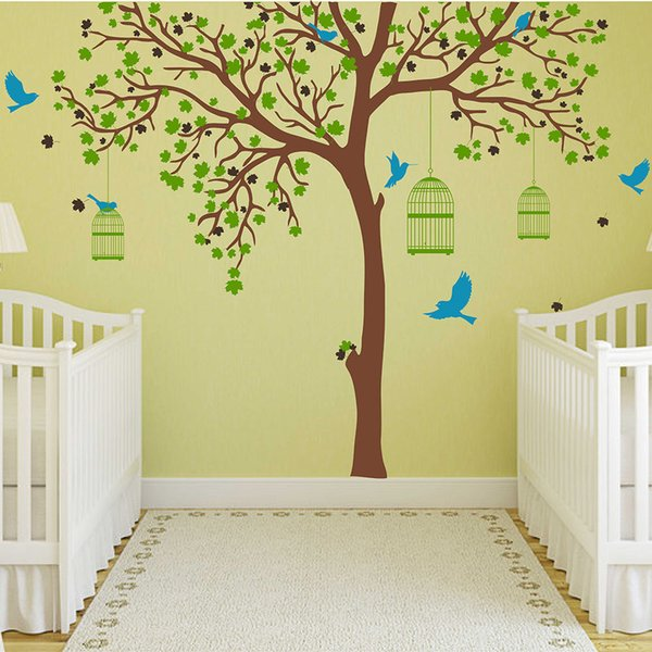 Large Tree Decal with Birds Cages Wall Sticker Tree and Birds Wall Decals Removable Vinyl Tree Sticker Wall Decor 704T