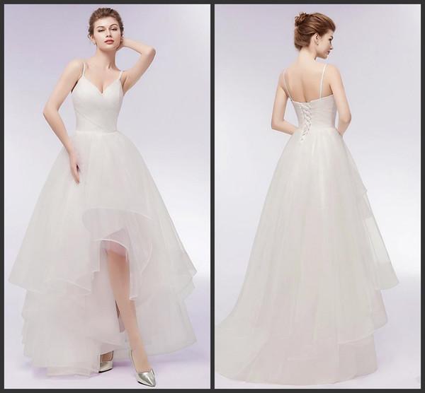 2019 Nuevo diseño especial Alto Bajo Una línea Vestidos de novia Correas de espagueti sexy Tulle Boda vestidos de novia