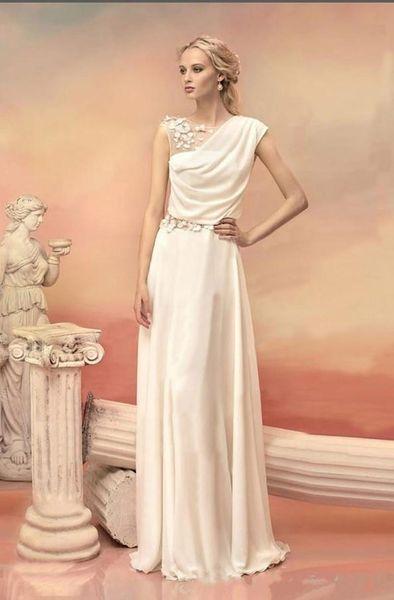 2019 New Tulle Flower Chiffon Formal Dress Greek Goddess Party Dresses Formal Dresses White Long Evening Dresses