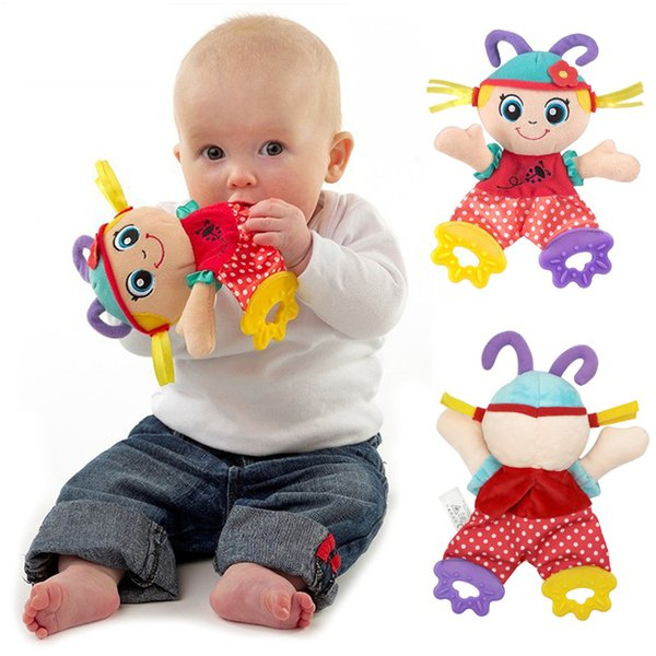 Baby Cute Stuffed Plush Animal Comfort Towel Teether Soft Stuffed Toys For Baby Calm Plush Doll With Sound