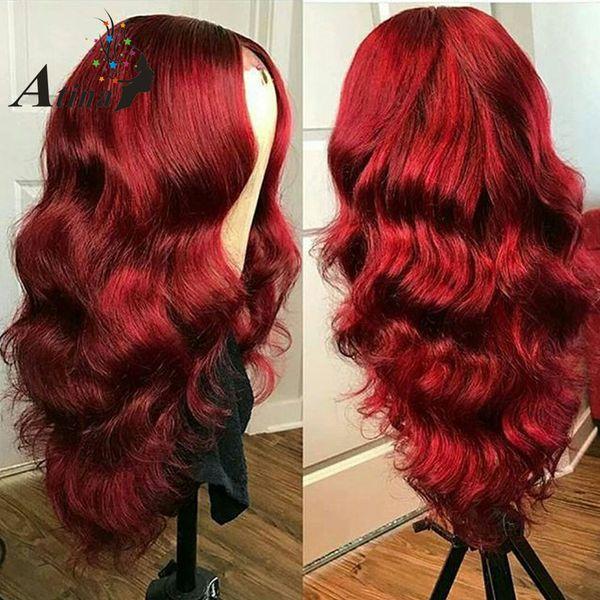 Satışa 2018 güzellik işlenmemiş ham bakire remy İnsan saç kadınlar için uzun kırmızı büyük kıvırcık tam dantel kap peruk