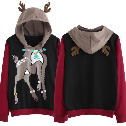 Womens Christmas Reindeer Tops Long Sleeve Pullover Casual Party Hooded Novelty Hoodies Cotton Top Sweatshirts Unisex Clothing