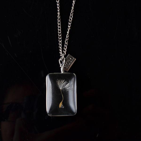 Diente de león Cristal blanco Colgante lágrima Moda femenina Diseñador de lujo Joyería
