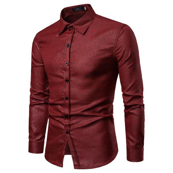 Brand 2019 Fashion Male Shirt Long-sleeves Tops Thread Lattices Mens Dress Shirts Slim Men Shirt S-xxl