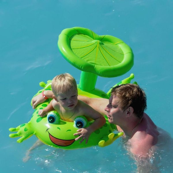 Cartoon Frog Inflatable Pool Toys Sunshade Seat Baby Kids Swimming Ring Safety Infant Neck Float Circle For Bathing