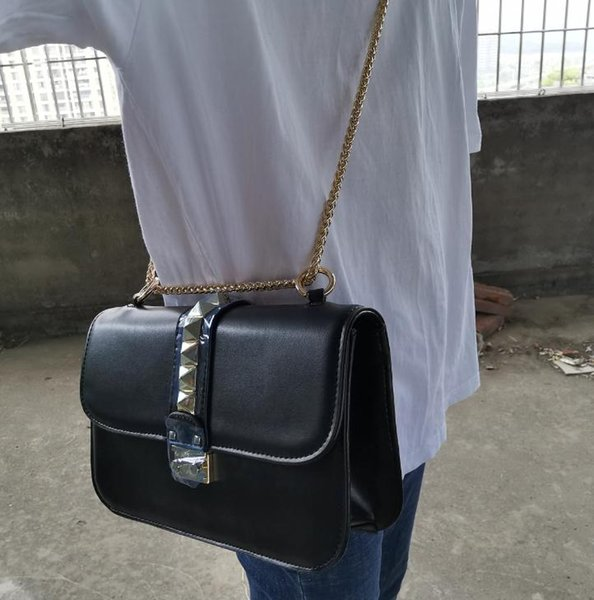 Fashion designer brand handbags top quality valentine Italian Genuine Leather Bags Rivet Chain for women Shoulder bag(large)27*17*8cm k3265