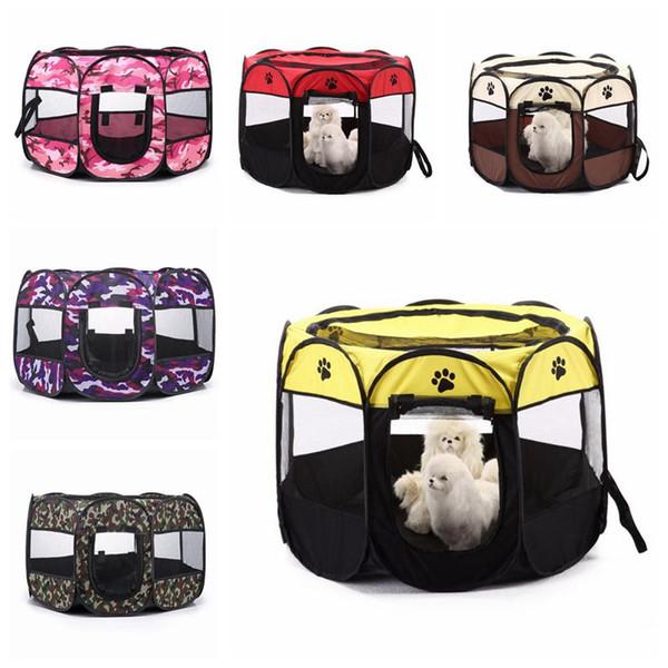 Toldos plegables impermeables para mascotas de 2 tamaños Toldos para perros y gatos Paño Oxford Octagonal Pets Cage House Dog Cat Outdoor Kennels plegables