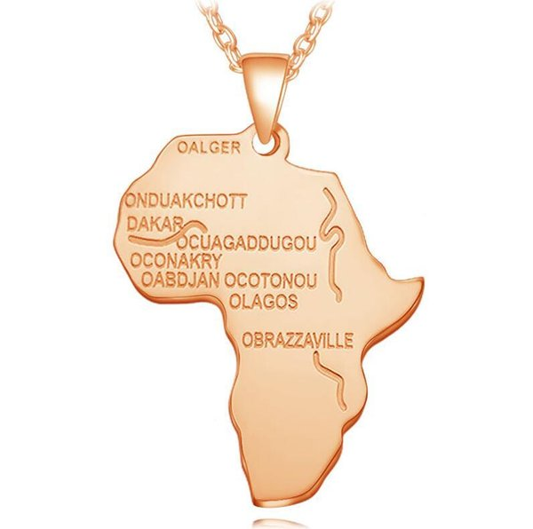 Hip hop Map of Africa Necklaces Pendants Gold Silver Globe World Map African Maps Pendant Necklace Women Men Earth Jewelry 4 Colors