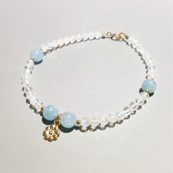 LiiJi Unique Natural Aquamarines Moonstone 925 Sterling Silver Gold color Flower Charm Bracelet For Women Children Drop Shipping