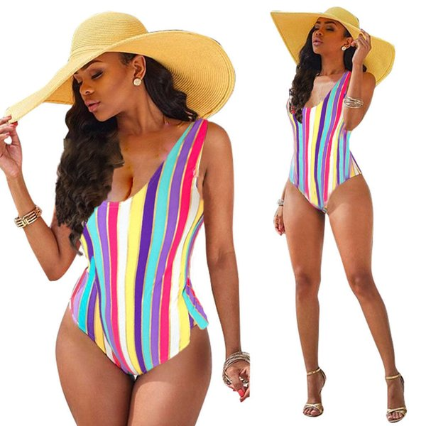 best selling Sexy Women One Piece Swimsuit Color Stripes Women Bandage Unpadded Bikini Swimwear Bathing Deep V Bikini Swimming Wear