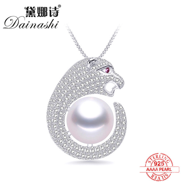 top popular 2020 New Natural Freshwater Pearl Shiny leopard Zircon Fashion personality Pendants 925 Sterling Silver Necklace Fine Jewelry 2021