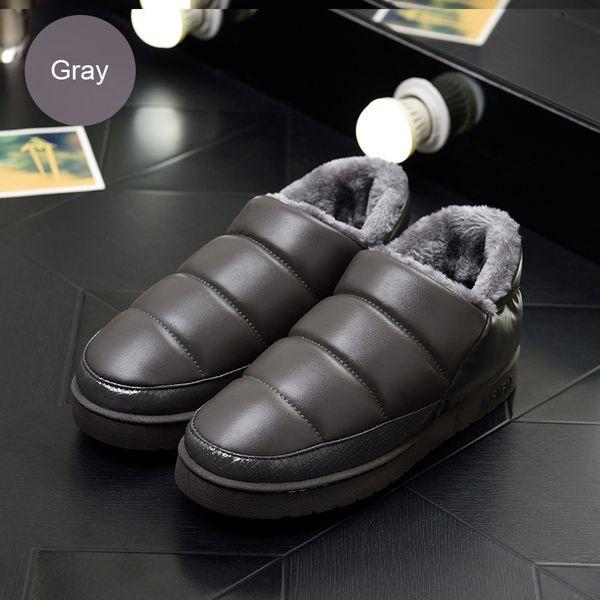 Weweya Kış Kapalı Kürk Çift Terlik Su Geçirmez Deri Kar Ayakkabı Boyutu 46 Terlik Erkekler Kaymaz Erkek Unisex Ayakkabı