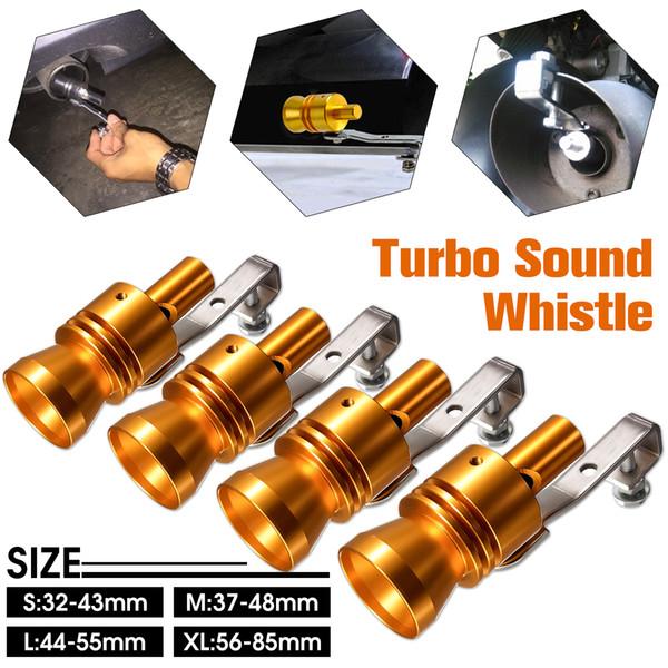 Gold Motorbike Car Exhaust Fake Turbo Whistle Pipe Sound Muffler Blow Off Valve Bov Universal Simulator Whistler S/M/L/XL