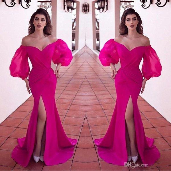 Design semplice Fucsia Front Split Side Prom Dresses Long Off spalla volant Sweep Train Abiti da sera da sera formale robe de soiree