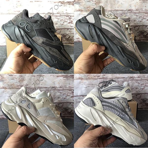 Adidas Yeezy Boost 700 Utilitário Preto Kanye West Mens Mulheres Running Shoes Geode Estática Malé Atlético Inércia OG Corredor Da Onda Sólida Cinza Esportes Sneakers 36-46