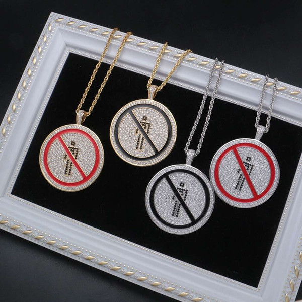 hip hop no entry round tag pendant necklaces for men women luxury pendants 18k gold plated copper zircons necklace jewelry lovers gifts - from $27.55