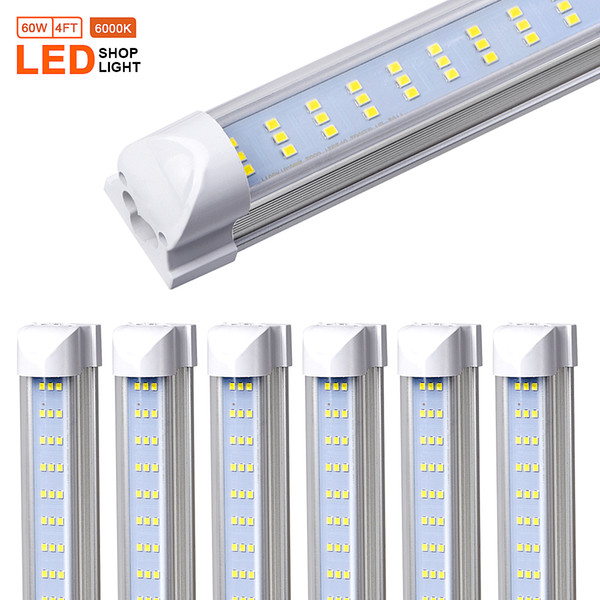 4 T8 Led Shop Light Fixture 4ft 40w Clear Lens Cover Flat Three Rows Integrated Bulb Lamp Led Cooler Door Light Plug And Play Led Tube Dmx Led