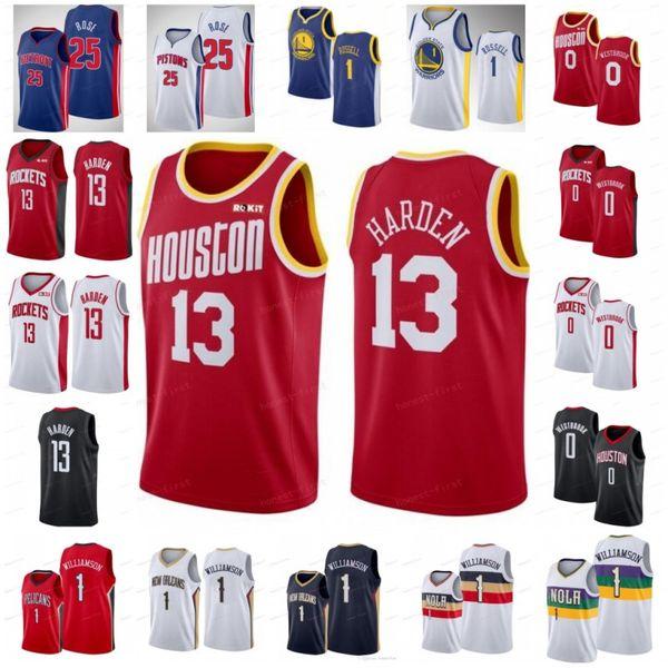NCAA Russell 0 Westbrook Jerseys James 13 Harden Derrick 25 Rose Zion 1 Williamson DAngelo 1 Russell Mens University 2019 City Baloncesto