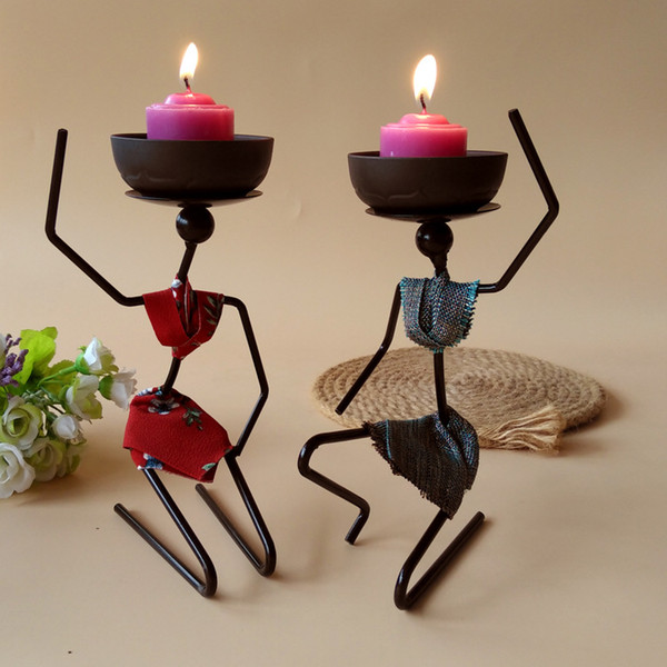 Iron Art Candlestick Women Ornament Candleholder With Bowl For Food Candle Home Decor Wedding Birthday Party Creative Candle Holders 6 Style
