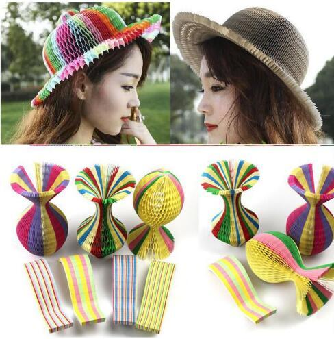 best selling Magic Paper Vase Cap Variable Folding Paper Hat Creative Magic Vase Hats Travel Round Foldable Sunhat Visors Hats GGA1928