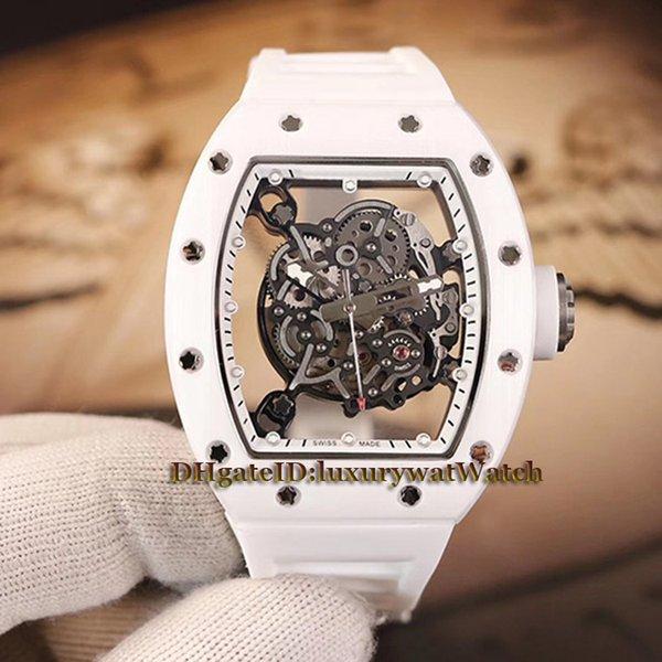 Üst düzey sürüm RM055 İskelet Dial Beyaz Nano-seramik Kompozitler Durumda Japonya Miyota Otomatik RM 055 Erkekler İzle Beyaz Kauçuk Kayış Saatler