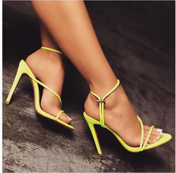Fashion Hot Women Lime Green Sandals Summer Open toe Stiletto sandals Black Orange Sexy High Heels Size 35-43