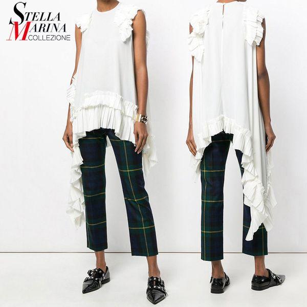 Nuovo 2019 European Fashion Summer Women tinta unita bianca irregolare Tee Top senza maniche Ruffles Hem Ragazze Hippie Chic T-shirt Style 3659 Y19051104