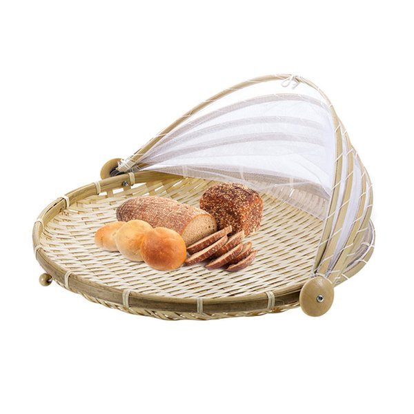 1pc Hand Woven Bug Proof Dustproof Picnic Handmade Fruit Vegetable Bread Cover Wicker Basket With Gauze Q190618