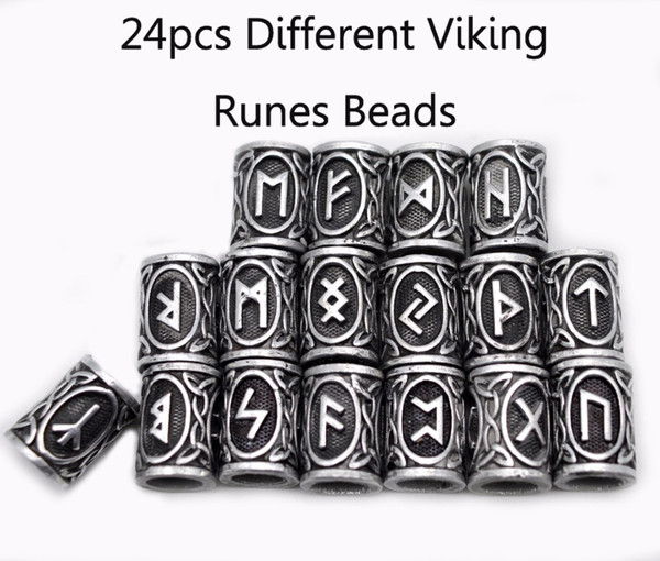 Original Viking Runes Charms Beads Findings for Bracelets for Pendant Necklace for Beard or Hair Vikings Rune Kits with 24pcs