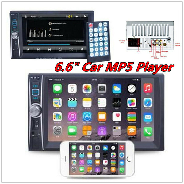 "top popular New Bluetooth Car Stereo MP3 Player 6.6"" Double 2Din Radio In-Dash+Camera Universal 2019"