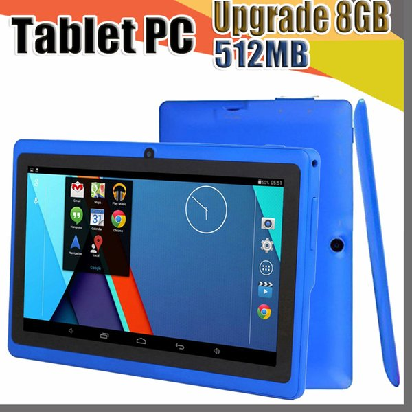 top popular 100X Q88 7 inch Android 4.4 Allwinner A33 Capacitive Screen Quad Core 512MB Upgrade 8GB Dual Camera External Tablet PC for gift A-7PB 2019