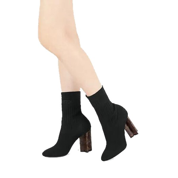 Luxury Brand Silhouette Ankle Boot Sock-Like Upper In Stretch Textile High Boots 10Cm/3.9 Inch Heel Women Booties 1A4Vic 0L08