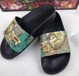 Designer Sandal Rubber Slides Blooms Green Red White Web Fashion Mens Womens casual Shoes Beach Flip Flops with dust Bag 56120