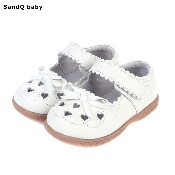 2019 New Summer Genuine Leather Children Sandals For Girls Hollow Out Bowtie Kids Sandals Heart-shaped Girls Princess Shoes Y19051303