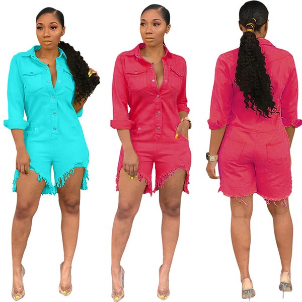 2019 Summer Casual Denim Jumpsuit Women Streetwear Sexy Turn Down Collar Long Sleeve Frayed Short Overall Plus Size