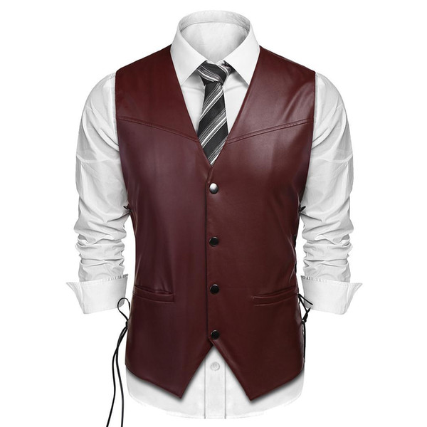 Men Winter Artificial Leather V Neck Sleeveless Lace Solid Up Casual Sides Vest Snap Button